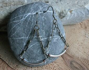 Waldport earrings, mixed metal chandelier earrings, chain earrings, chandelier earrings, bohemian jewelry, boho jewelry, modern earrings