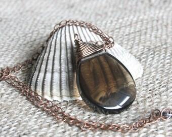 Great Basin necklace, smoky quartz necklace, quartz jewelry, quartz necklace, teardrop pendant, wire wrapped necklace, rustic necklace