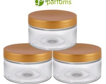 Clear Low Profile PET Plastic Empty Cosmetic Jars & Spoons 4 Oz 120mL w/ Silver, Black, Copper, White, Caps Sugar Scrub, Salts, Conditioner