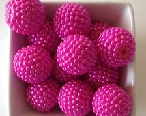 SIX 22mm Hot Pink Berry Acrylic Resin Bubblegum Bead-Chunky Bubblegum Bead Necklace-Bead-22mm Beads-Bubblegum Bead-20mm Beads-Acrylic-Resin