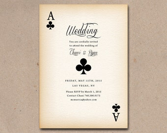 Vintage poker style playing card for a Vegas wedding.