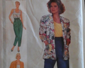 Vintage 1986 Simplicity 7381 Sewing Pattern Misses' Pants or Short, Unlined Jacket and Top Size 14
