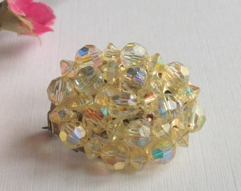 Vintage 1950's Oval Aurora Borealis Brooch, Yellow AB Crystal Brooch, Mother's Day Gift, Bridal, Vintage Wedding