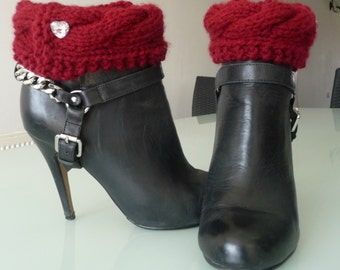 Burgundy, Deep Red Cabled Boot Cuffs, Boot Toppers