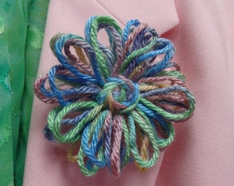 Shades of Pastel Blue and Green Yarn Daisy Barrette or Pinback