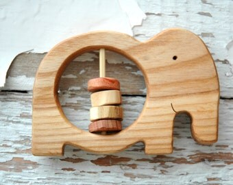 Wooden Rattle Elephant/ Baby Teether Elephant/ Baby Shower Gift