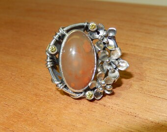 "Silver ring ""spirit stones. Chalcedony"""