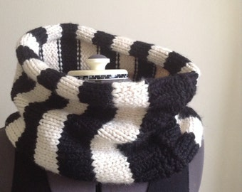 Black and white Striped handmade chunky cowl scarf