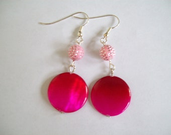 Pink and red earrings, pink earrings, red earrings, silver earrings, light pink earrings, light pink beads, pink beads