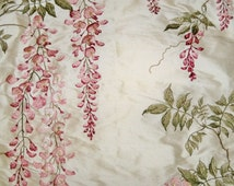 COLEFAX & FOWLER WISTERIA Embroidered Silk Fabric 10 Yards Rose Green Cream