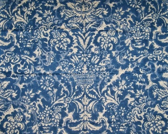 RALPH LAUREN FLORAL Urns Cotton Linen Fabric 10 Yards Indigo Blue