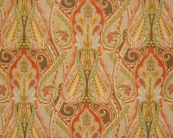 CLARENCE HOUSE PAISLEY Medallions Darius Linen Fabric 10 Yards Persimmons Multi