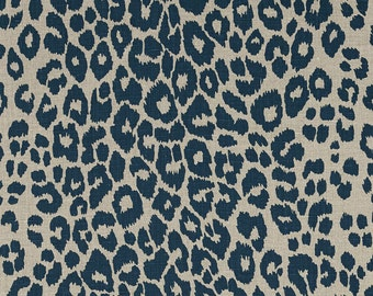 SCHUMACHER ICONIC LEOPARD Belgium Printed Linen Fabric 10 yards Ink Natural