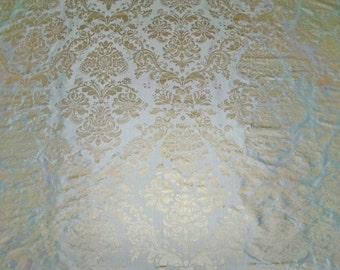 SILK LOOM FORTUNY Style Venetian Lotus Medallion Printed Silk Damask Fabric 10 Yards Glacier