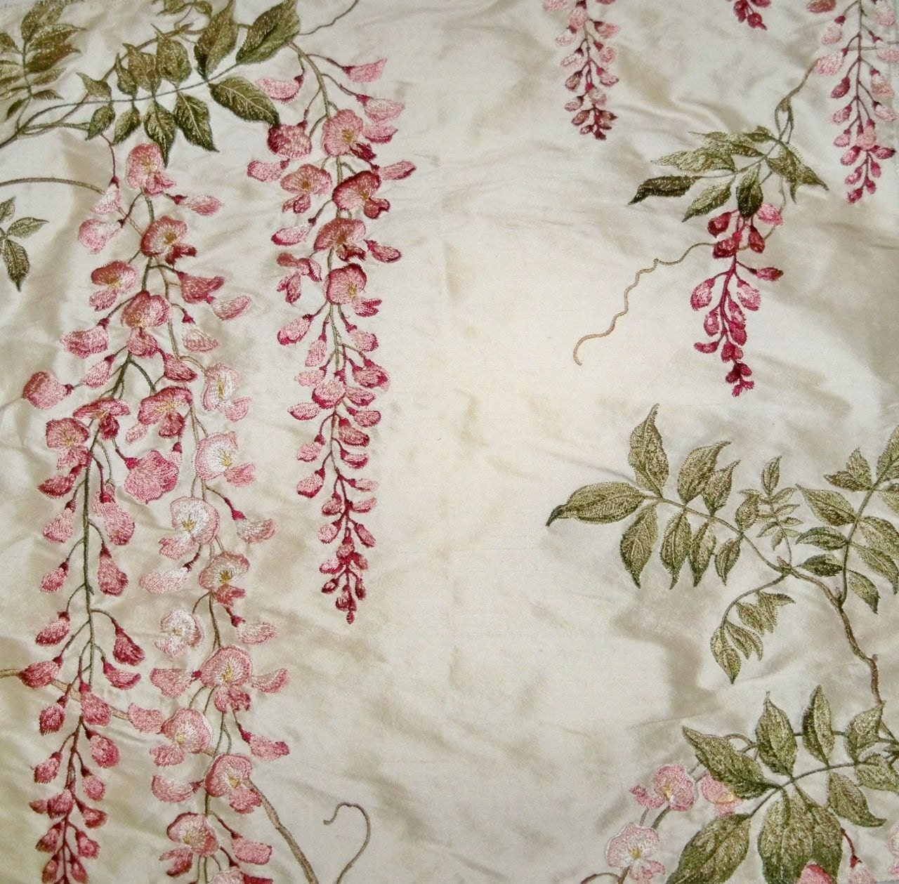 colefax fowler wisteria embroidered silk fabric 10 yards. Black Bedroom Furniture Sets. Home Design Ideas