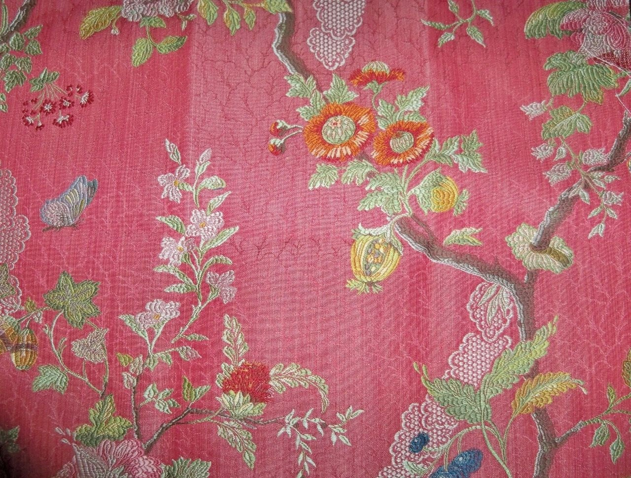 Scalamandre Aprile Silk Lampas Fabric 10 Yards Red Colony
