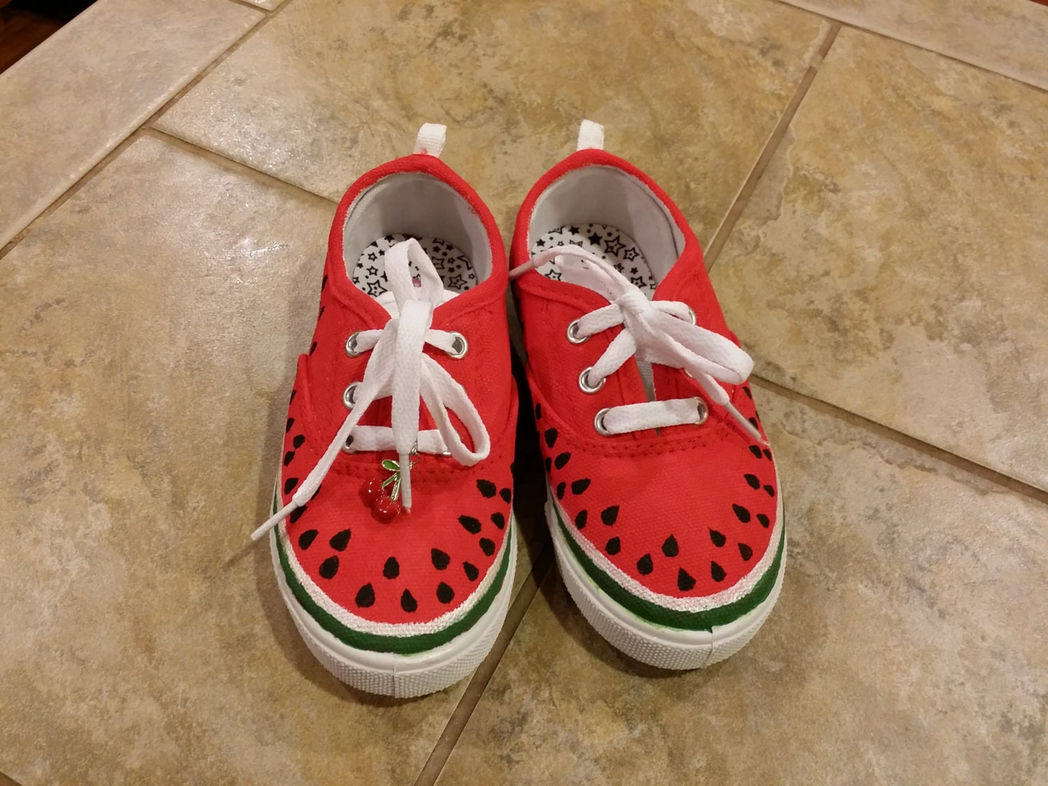 custom made canvas shoes watermelon themed by punkinfeets