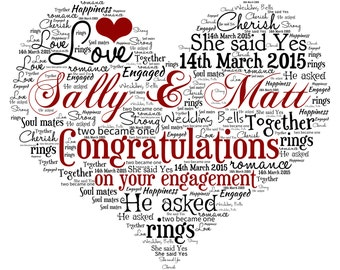 Personalised Engagement - Anniversary - Wedding Gift -  A4 Word Art Print
