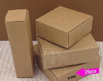 25pcs - Large Square Kraft Boxes, Wedding Favor Boxes, Party Favor Boxes, Holiday Gift Boxes, Jewelry Boxes, Soaps Boxes, Kraft Boxes