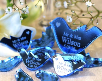 Personalised Mr & Mrs Love Doves, Wedding Table Decorations, Wedding Table Confetti Centrepieces, Table Décor, Personalized Dove Favours
