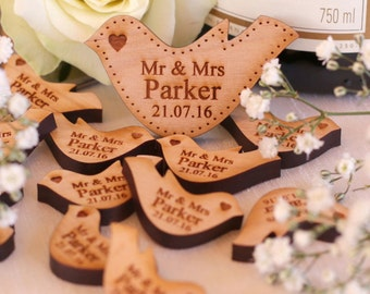 Personalised Wooden Cherry Mr & Mrs Love Heart Doves Wedding Table Decoration Favour
