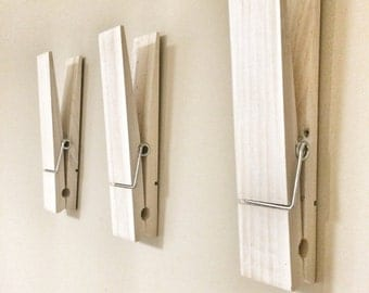 "Large Rustic 9"" Decorative Clothespin in white washed finish - office home nursery laundry room wall decor note photo picture holder"