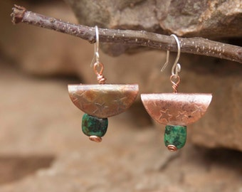 Etched Copper and Stone Earrings