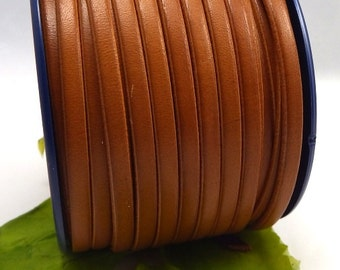 Leather flat camel 5mm by 1 metre (1.09 yard, 3.28 foot)