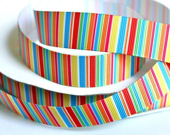 1 inch Thin Colorful Vertical Stripes - Printed Grosgrain Ribbon for Hair Bow