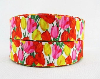 1 inch Beautiful Tulips on white - Printed Grosgrain Ribbon for Hair Bow