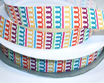 7/8 inch Colorful Wiggly BOLD Spirals on White - AL118 - Printed Grosgrain Ribbon for Hair Bow