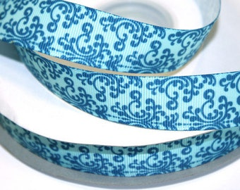 7/8 inch Teal Swirls on Light Teal Background  - AL114- Printed Grosgrain Ribbon for Hair Bow