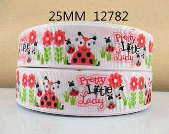 1 inch Pretty Little Ladybugs on White - 12782 - Printed Grosgrain Ribbon for Hair Bow