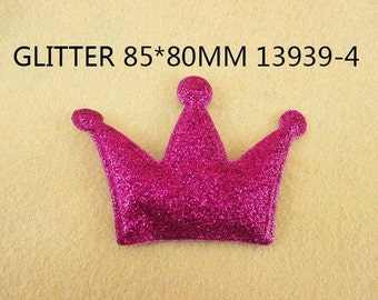 1 Piece - 85mm - PUFFY Glitter Crown - HOT Pink - Accent - Flat Back Flatback Approx. 3 inches - PRINCESS