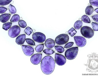 AMETHYST Cabochon and Faceted Combination 925 SOLID Sterling Silver Necklace Shipping