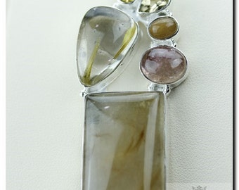 RUTILE RUTILATED QUARTZ 925 Solid Sterling Silver Pendant + 4mm Snake Chain & Free Worldwide Shipping P1763