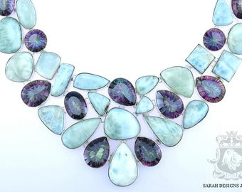 Massive Size LARIMAR MYSTIC TOPAZ 925 Solid Sterling Silver Necklace & Free Worldwide Shipping n306