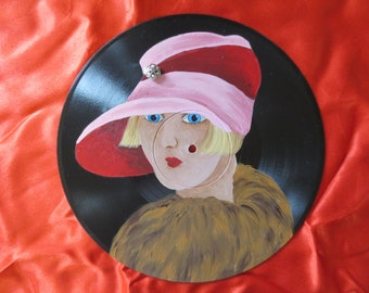 Handpainted Refurbished Vintage Vinyl Record Retro Wall Decor