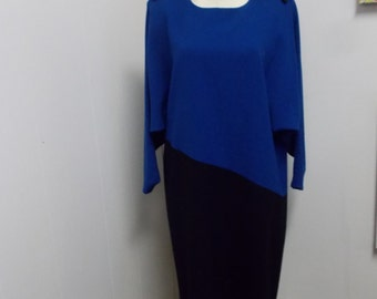 1980's Era Blue and Black Colorblock Dress with Howard Wolf Label