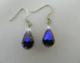 Purple Crystal Tear Drop Earrings