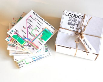 Bus Routes In London Ceramic Coasters Set of 6, Tile Coasters, London Bus Routes Drink Coasters Set of 6