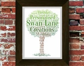Personalised Word Art Family Tree Shape Picture. Perfect for a House Move, Wedding,  First Home, Family Gift **A Digital Printable File**