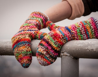 Multicolored Winter Mittens / Colour Mixes Crochet Arm Warmers / Rainbow Winter Gloves / Fall Winter Accessories / Christmas Gift Idea
