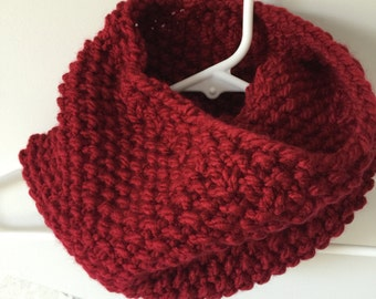 Red Hand Knit Neck Warmer/Scarf
