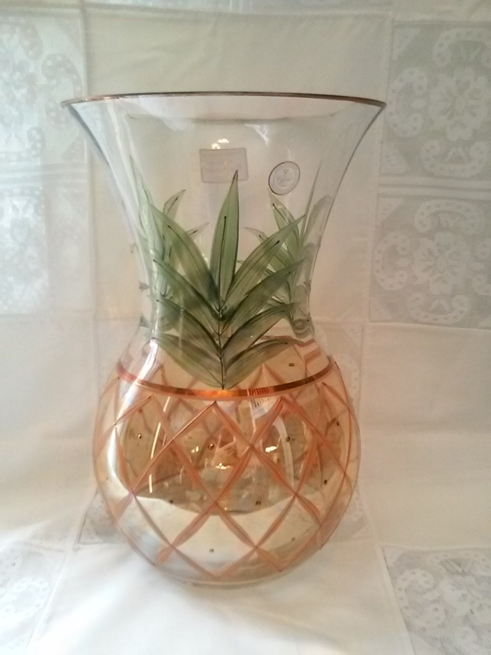 Romanian Clear Crystal Hand Painted Pineapple Vase