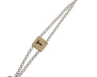 Scrabble bracelet from recycled board game, charm bracelet, scrabble tile bracelet, letter bracelet- adjustable bracelet, you select letter