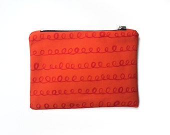 20% OFF SALE / Small orange clutch pouch with hand printed scallops, handmade purse, small clutch, 10 x 7 purse, gift ideas, handbags Canada