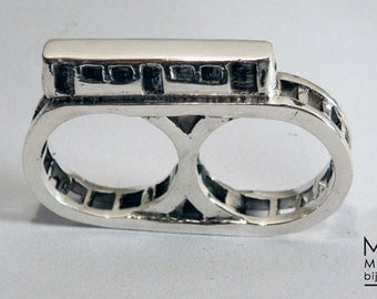 """ring 'train""""2 fingers in sterling silver"""