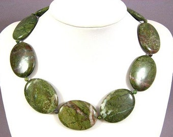 Necklace New Unakite 40mm Flat Oval 925 NSEP5613