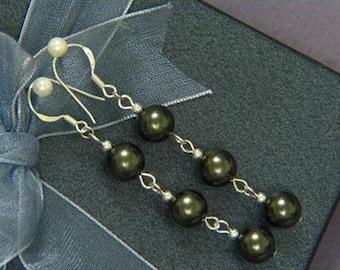 "earrings Dark Gray Shell Pearl 8mm Round 925 2.25"" EHSK0336"
